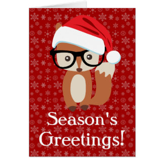 Hipster Holiday Fox w/Glasses Folded Greeting Card