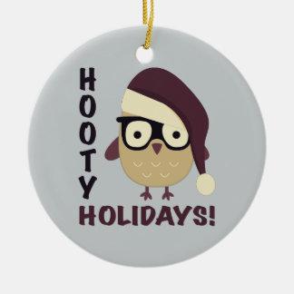 Hipster Hooty Holidays! Round Ceramic Ornament