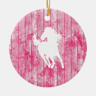 Hipster Horse & Rustic Pink Wood Christmas Tree Ornaments