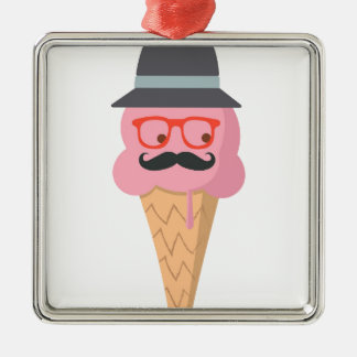 Hipster ice cream Silver-Colored square ornament