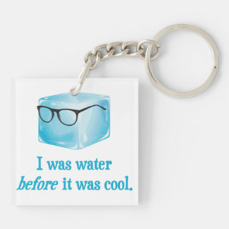 Hipster Ice Cube Was Water Before It Was Cool Double-Sided Square Acrylic Keychain