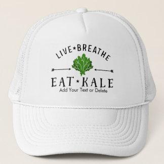 Hipster Kale Live Breathe Eat Kale Custom Trucker Hat