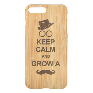 Hipster Keep Calm and Grow a Mustache Bamboo Look iPhone 7 Plus Case