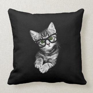 Hipster Kitten & Glasses Cat Lover's Throw Pillow