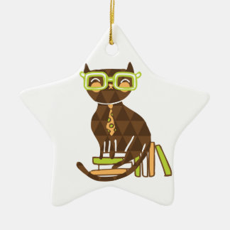 Hipster Kitty Ceramic Star Ornament