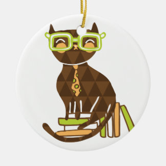 Hipster Kitty Round Ceramic Ornament