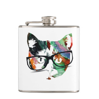 Hipster Kitty with Glasses Flasks