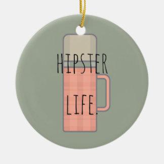 Hipster Life Illustration Design Collection Round Ceramic Ornament