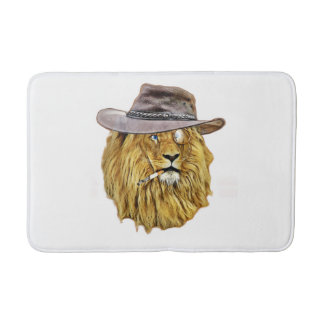 Hipster Lion Animal Bathroom Mat