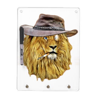 Hipster Lion Animal Dry Erase White Board