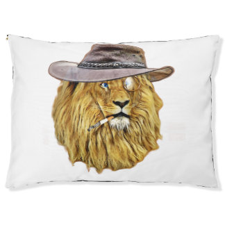 Hipster Lion Animal Large Dog Bed