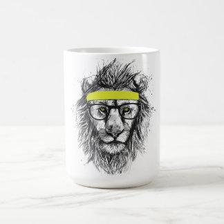 hipster lion coffee mug