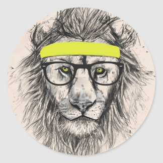 hipster lion (light background) classic round sticker