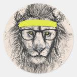 hipster lion (light background) round stickers