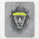 Hipster lion mouse pad