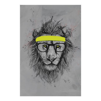hipster lion poster