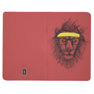 Hipster lion (red) journals