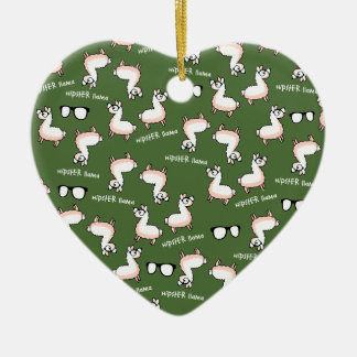 Hipster Llama Madness Ceramic Heart Ornament