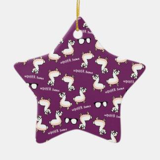 Hipster Llama Madness Ceramic Star Ornament