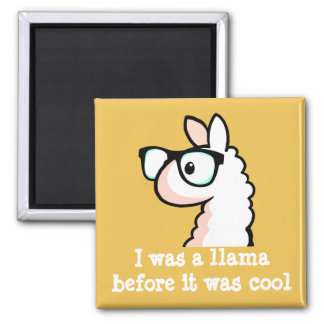 Hipster Llama Square Magnet