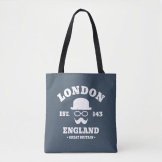 Hipster London England Bowler Hat and Moustache Tote Bag