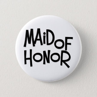 Hipster Maid of Honor 2 Inch Round Button