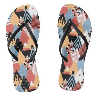 Hipster modern triangle geometric pattern flip flops