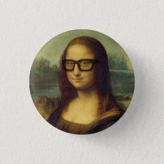 Hipster Mona Lisa in Hipster Glasses da Vinci 1 Inch Round Button