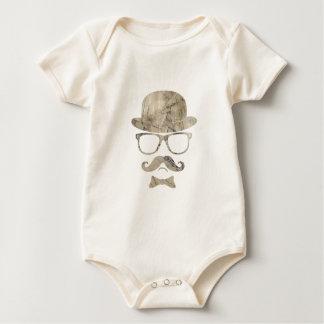 hipster moustache derby glasses 3 baby bodysuit