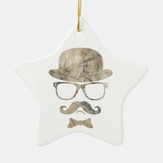 hipster moustache derby glasses 3 ceramic star ornament