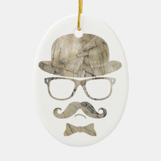 hipster moustache derby glasses 3 ceramic oval ornament