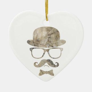 hipster moustache derby glasses 3 ornament