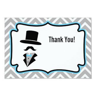"""Hipster Moustache Little Man Thank You Note 3.5"""" X 5"""" Invitation Card"""