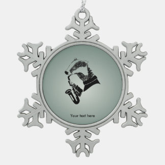 Hipster Musician Badger Saxophone Customizable Pewter Snowflake Ornament