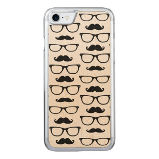 Hipster Mustache and Glasses Dot Pattern Carved iPhone 7 Case