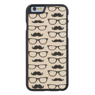 Hipster Mustache and Glasses Dot Pattern Carved® Maple iPhone 6 Case