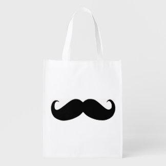 Hipster Mustache Reusable Bag Market Totes