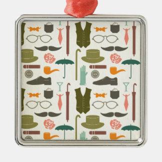 Hipster mustache vintage fun chic fun pattern gent Silver-Colored square ornament
