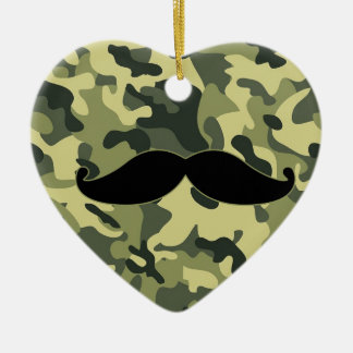 hipster mustache with army Camouflage background Ceramic Heart Ornament