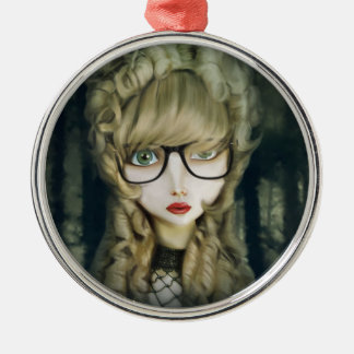Hipster nerd Silver-Colored round ornament