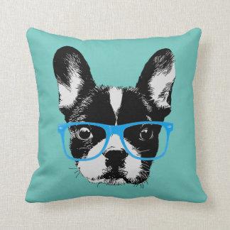 Hipster Nerdy French Bulldog Throw Pillow