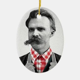 Hipster Nietzsche Ceramic Oval Ornament
