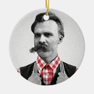Hipster Nietzsche Round Ceramic Ornament