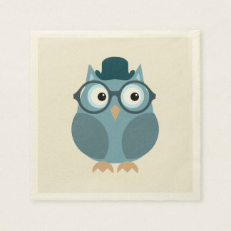 Hipster Owl Disposable Napkins