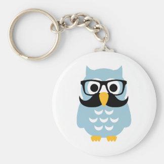 Hipster owl mustache keychain