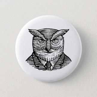 Hipster Owl Suit Woodcut 2 Inch Round Button