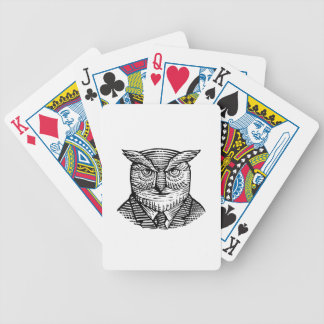 Hipster Owl Suit Woodcut Bicycle Playing Cards