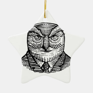 Hipster Owl Suit Woodcut Ceramic Ornament