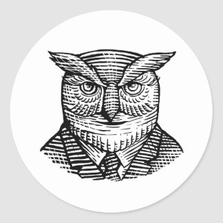 Hipster Owl Suit Woodcut Classic Round Sticker