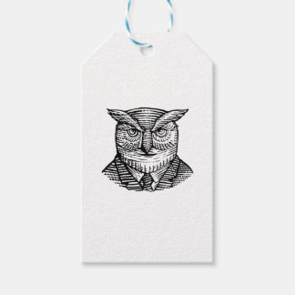Hipster Owl Suit Woodcut Gift Tags